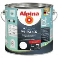 Alpina  белая эмаль - Акриловая в/д эмаль для внутренних и наружных работ, шелковисто-матовая/глянцевая,0.75-2.5л, Германия