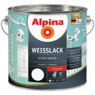Alpina Белая эмаль - Алкидная эмаль для дерева и металла, шелковисто-матовая/глянцевая, 0.75-2.5л Германия