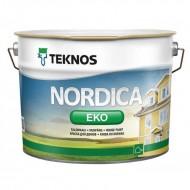 Teknos Nordica Eko B.3 - Акриловая краска для деревянных фасадов, матовая, прозрачная база, 0.9-9 литров, Финляндия