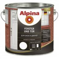 Alpina Для окон и дверей - Белая высокоглянцевая финишная эмаль для окон и дверей, 0.75-2.5л, Германия