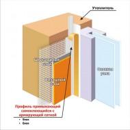 Профиль примыкания к оконным и дверным проёмам Profigips с манжетой и сеткой, 6мм, длинна 2.4м